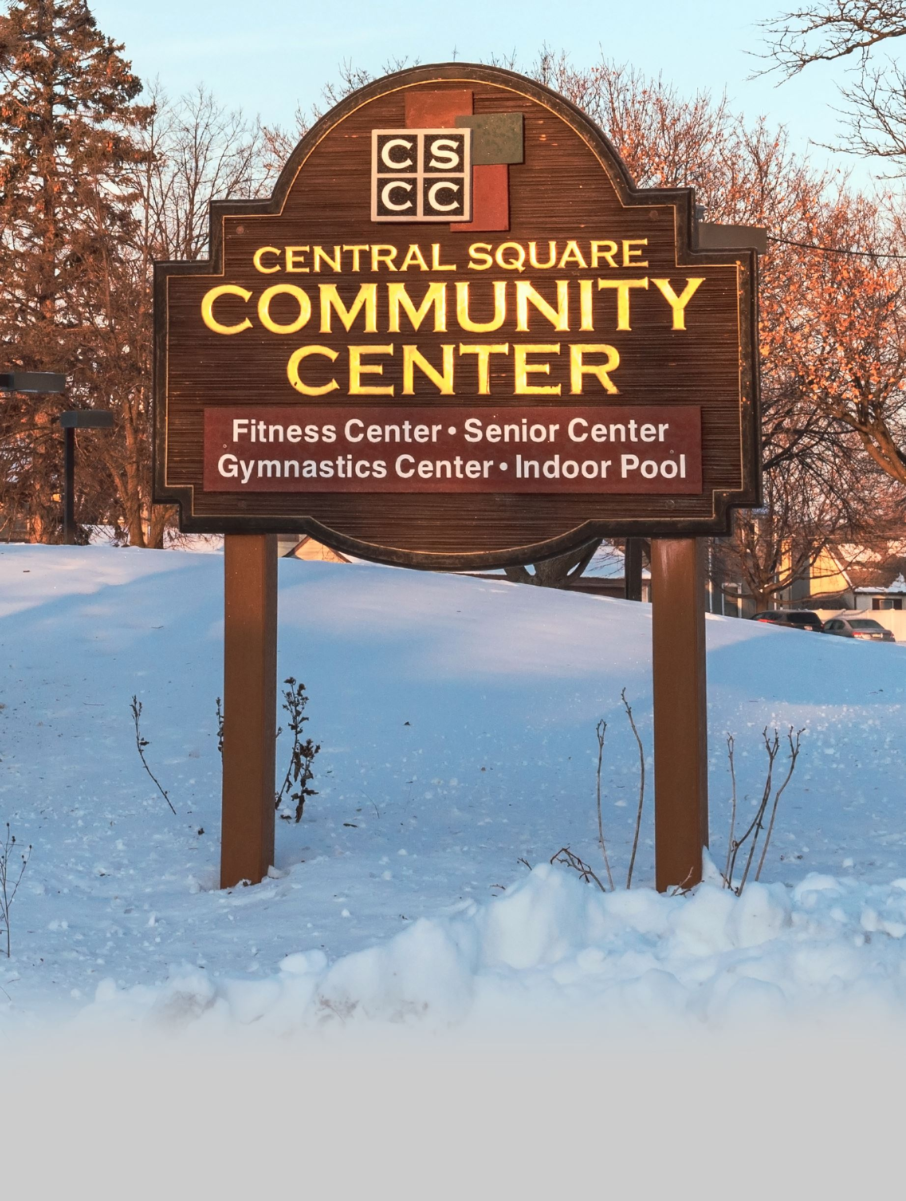 Central Square Community Center Sign Winter