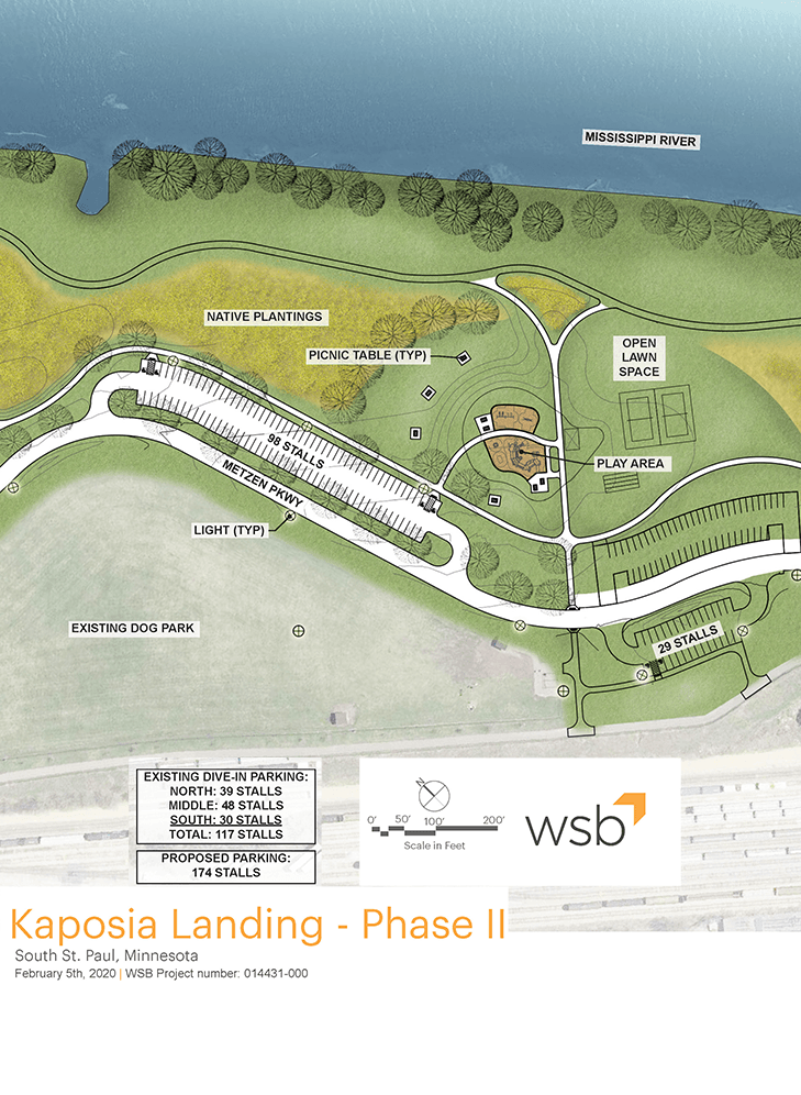 Kaposia Landing Phase 2 Site Park Design Showing new walkways and parking