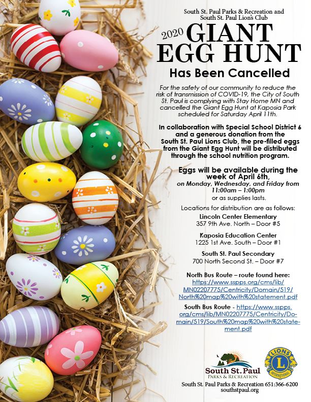 Giant Egg Hunt Cancellation